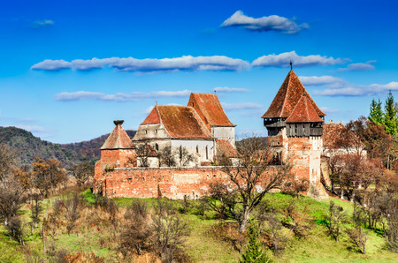 alma: Transylvania, Romania. Medieval rural scenery with fortified churches. Alma Vii christian fortress was built in 16th century by Saxons.