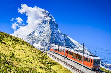 rack mount: Matterhorn, Switzerland. Gornergratbahn is a 9 km long gauge mountain rack railway leading from Zermatt (1604 m), up to the Gornergrat (3089 m). Stock Photo