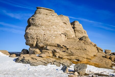 geological formation: Carpathian Mountains, Romania. Romanian Sphinx, natural rock formation and geological phenomenon formed through erosion in Bucegi Natural Park.