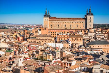 Toledo, Spain. Alcazar view in ancient city on a hill over the Tagus River, Castilla la Mancha medieval attraction of Espana.