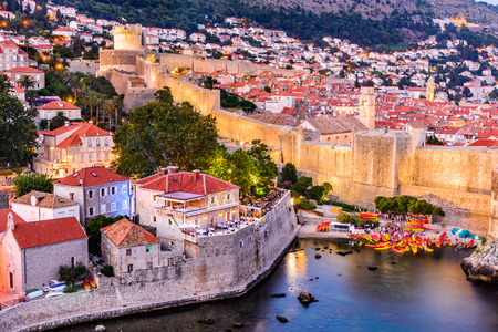 ragusa: Dubrovnik, Croatia. Spectacular twilight picturesque view on the old town of Ragusa from the Lovrijenac Fortress.
