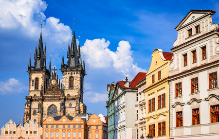 praha: Prague, Czech Republic. Aerial view over Church of Our Lady before Tyn at Old Town square (Starometska) in Praha. Stock Photo