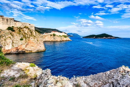 Dubrovnik, Croatia. Spectacular picturesque view on the old town of Ragusa and Lovrijenac Fortress. Editorial