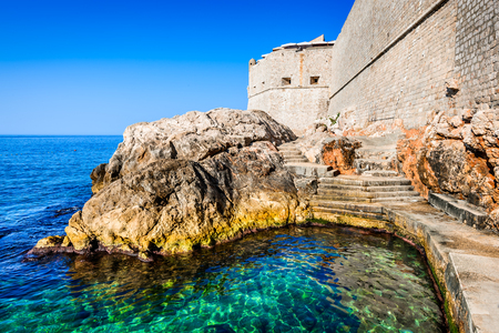 Dubrovnik, Croatia. Spectacular picturesque view on the old town of Ragusa and Lovrijenac Fortress. Stock Photo