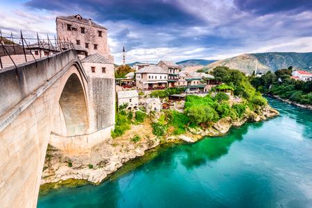 neretva: Mostar, Bosnia and Herzegovina. The Old Bridge, Stari Most, with emerald river Neretva. Editorial