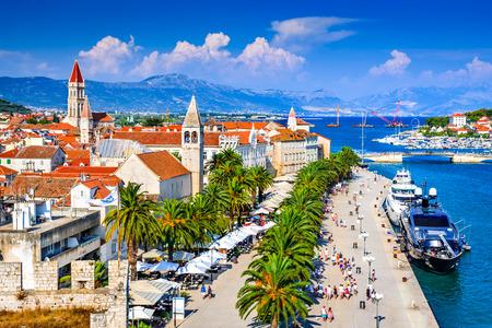 Trogir, Croatia. Sunny promenade along the pier of old Venetian town, Dalmatian Coast in Croatia. Redakční