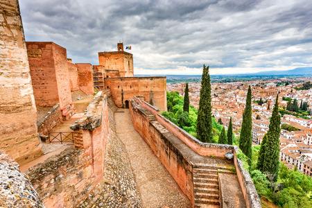 sierra nevada: Granada, Spain. Famous Alhambra, Nasrid Emirate fortress, European travel landmark in Andalusia.