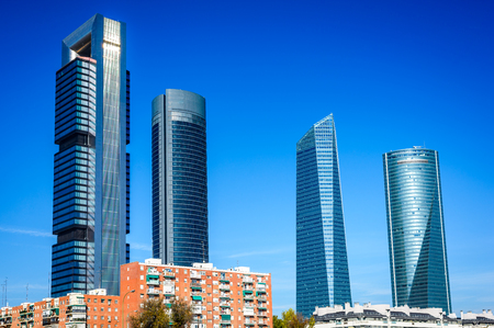 torres: MADRID, SPAIN - 7th NOVEMBER 2015: Madrid, Spain. Cuatro Torres Business Area, financial district skyline in modern Spanish capital city. Editorial