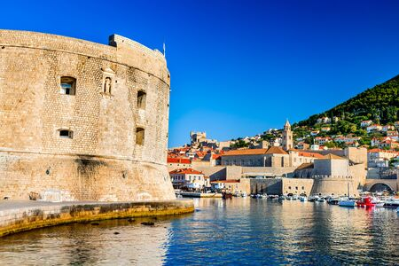 ragusa: Dubrovnik, Croatia. Picturesque view on the old town (medieval Ragusa) and Dalmatian Coast of Adriatic Sea. Stock Photo