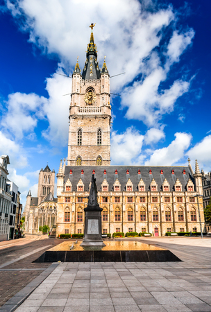 Gent, Belgium. Skyline of Ghent in West Flanders, Belgium, with Belfort tower and St. Nicholas Church.