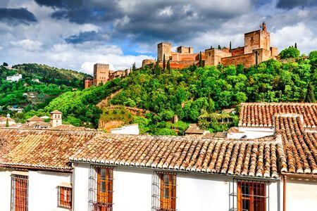 Granada, Spain. Famous Alhambra, Nasrid Emirate fortress, European travel landmark in Andalusia.