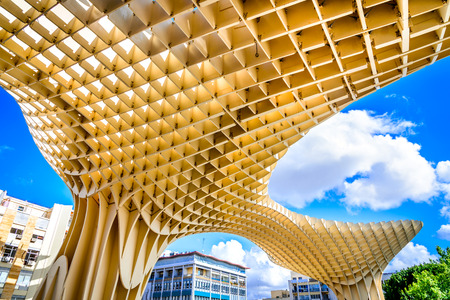 eggtray: SEVILLA, SPAIN - 9 MAY 2016: Metropol Parasol in Plaza de la Encarnacion. J. Mayer H. architects, it is made from bonded timber with a polyurethane coating.