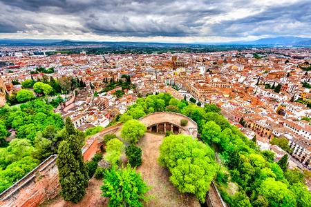 Granada, Andalusia, Spain. View of Albayzin ( Albaicin) from Alcazaba and Alhambra hill, over the old city and Cathedral of Granada.