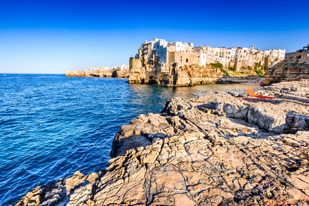 Puglia, Italy. Sunset scenery of Polignano a Mare, town in the province of Bari, Apulia, southern Italia on the Adriatic Sea Stock Photo