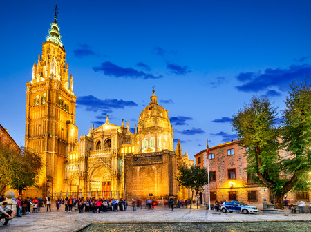 Toledo, Spain. Catedral Primada Santa Maria de Toledo, built in Mudejar gothic style (1226). Castilla la Mancha.
