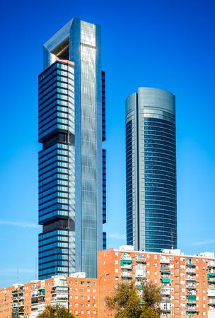 cuatro: MADRID, SPAIN - 7th NOVEMBER 2015: Madrid, Spain. Cuatro Torres Business Area, financial district skyline in modern Spanish capital city. Editorial