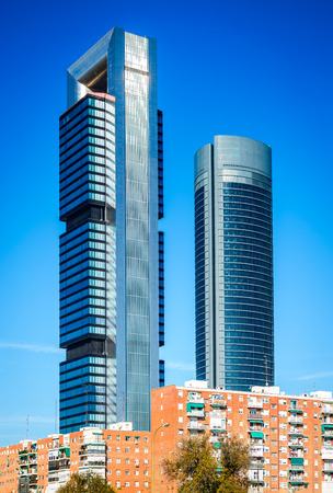 MADRID, SPAIN - 7th NOVEMBER 2015: Madrid, Spain. Cuatro Torres Business Area, financial district skyline in modern Spanish capital city. Editorial