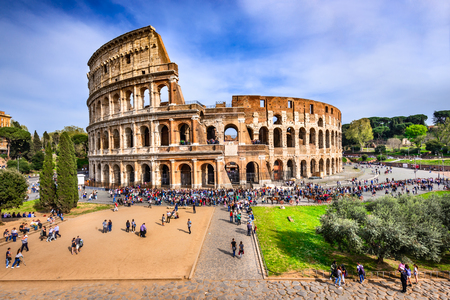 emporium: ROME, ITALY - 3 APRIL 2016: Colosseum (Coliseum), the amphiteatre for gladiators fights in Ancient Rome, Roman Empire.