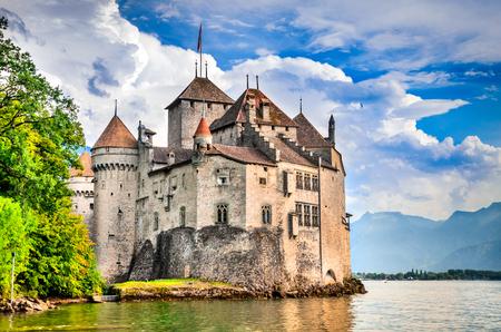Schloss Chillon, Schweiz. Montreaux, der Genfersee, einer der meistbesuchten Burg der Schweiz, zieht jedes Jahr mehr als 300.000 Besucher an.