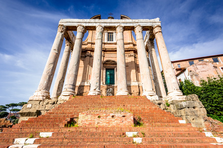 pius: Rome, Italy. Ancient ruins of Roman Forum with Temple of Antoninus Pius and Faustina, ancient Roma city center, heart of empire.