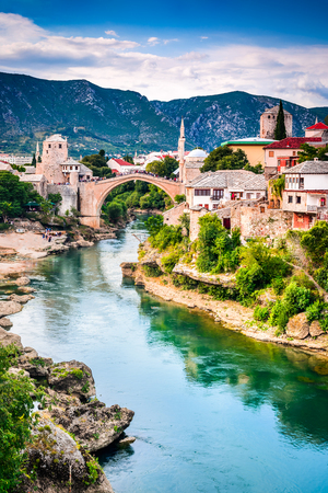 Mostar, Bosnia and Herzegovina. The Old Bridge, Stari Most, with emerald river Neretva. Stock Photo