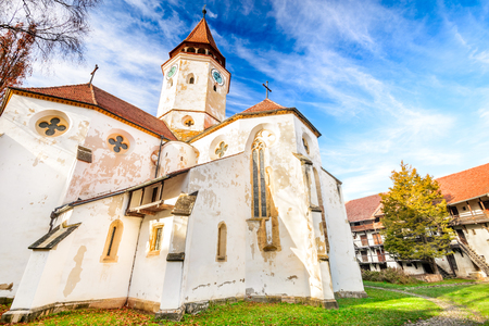 Prejmer, Romania. Fortified church of Tartlau,  Prejmer. Churches built by Teutonic Knights, settlement of the Transylvanian Saxons. Stock Photo