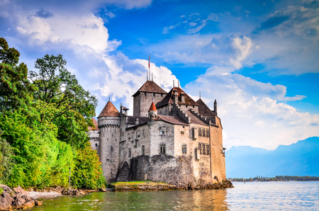 MONTREUX, SWITZERLAND - AUGUST 18, 2011 - Castle Chillon one of the most visited castle in Switzerland attracts more than 300,000 visitors every year.