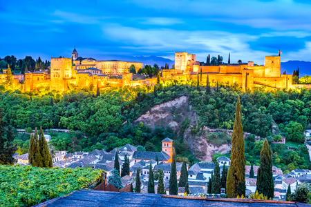 Granada, Spain. Night View of famous Alhambra with Alcazaba, European travel landmark in Andalusia.