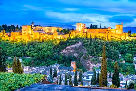 sierra nevada: Granada, Spain. Night View of famous Alhambra with Alcazaba, European travel landmark in Andalusia.