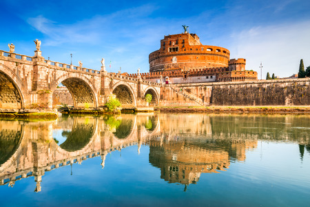 Rome, Italy. Bridge and Castel Sant Angelo and Tiber River. Built by Hadrian emperor as mausoleum in 123AD, ancient Roman Empire landmark. Vatican.