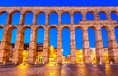 Segovia, Spain. Plaza del Azoguejo and the ancient Roman Aqueduct, from 1st century AD of Roman Empire.