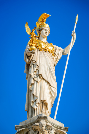 Vienna, Austria. Austrian Parliament with the statue of Pallas Athena of the greek goddess of wisdom. Wien.