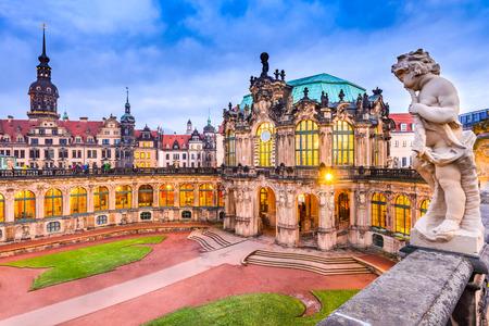 Dresda, Germany. Der Dresdner Zwinger building at twilight, Saxony region. Stock Photo
