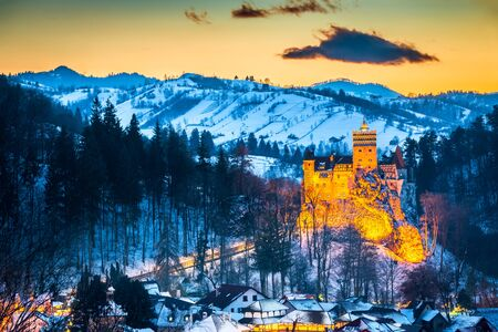 Bran Castle, Romania. Stunning HDR twilight image of Dracula fortress in Transylvania, medieval landmark. Stock Photo