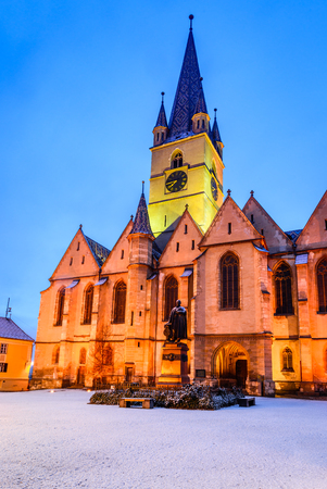 Sibiu, Romania. Evangelical Cathedral in the center of Sibiu, European Capital of Culture for the year 2007, Transylvania.