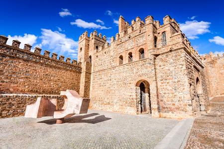Toledo, Spain. Puerta de Bisagra a city gate of medieval Spanish city built by Arabs in 10th century (originally Bab al-Saqra). Castilla-La Mancha Editorial