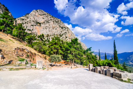 Delphi, Greece. Amphitheater, an archaeological Greek site, at the Mount Parnassus. Delphi is famous by the oracle at the sanctuary dedicated to Apollo. UNESCO World heritage
