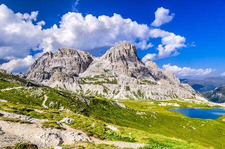 Dolomites Alps, Italy. Wilderness scenery of Sesto Dolomites in Northern Italy, South Tyrol landmark with dolomites ridge near Tre Cime di Lavaredo.