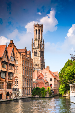 Bruges, Belgium. Scenery with water canal in Bruges, Venice of the North, cityscape of Flanders, Belgium Stock Photo