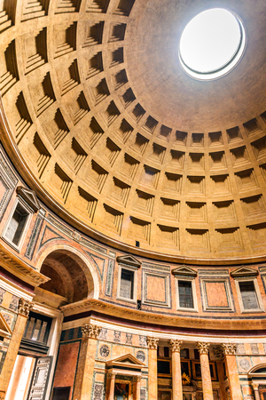 ROME, ITALY - 25 SEPTEMBER 2014: Rome, Italy. Pantheon, ancient Roman Empire building built by Marcus Agrippa in Augustus times