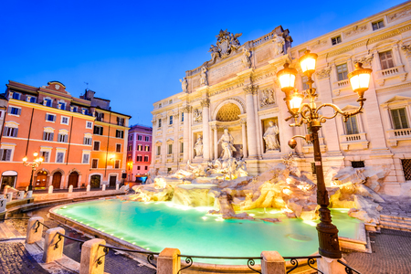 Rome, Italy. Stunningly ornate Trevi Fountain, built in, illuminated at night in the heart of Roma. Stok Fotoğraf