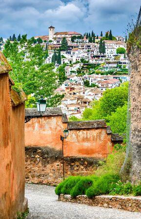 Granada, Spain - Albaicin Moorish medieval quarter, traditional arabic architecture of Andalusia Stock Photo