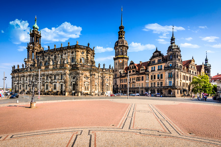 Dresden, Germany. Dresda Castle (Green Vault) in the historic center of the Saxony city. Contains the largest collection of treasures in Europe. Stock Photo