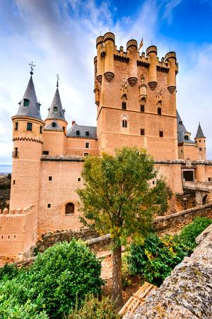 Segovia, Spain. The famous Alcazar of Segovia, rising out on a rocky crag, built in 1120.  Castilla y Leon. Stock Photo