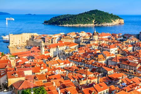 Dubrovnik, Croatia. Sunset golden light over Old Town roofs of Ragusa (Duvrovnik).