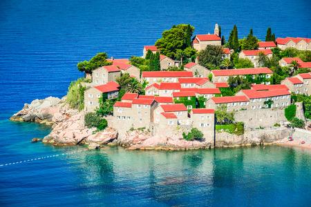 Sveti Stefan, Budva, Montenegro. View with fantastic small island on the Adriatic Sea coast.