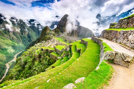 Machu Picchu, Peru - Ruins of Inca Empire city and Huaynapicchu Mountain, Sacred Valley, Cusco. Amazing place of South America. Stock Photo