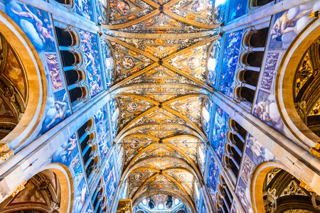 empedrado: PARMA, ITALY - 4 JUNE 2017: Parma, Italy - Interior of Catedrale de Parma, built in 1059. Romanesque architecture in Emilia-Romagna.