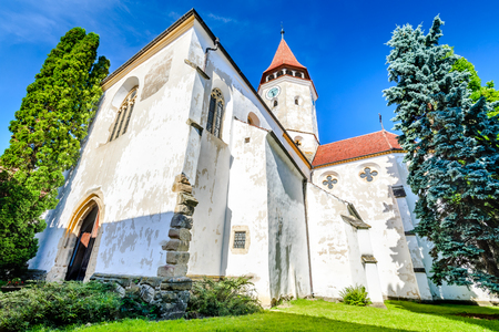 Prejmer, Romania and medieval fortified Saxon church in Brasov county landmark of old Transylvania