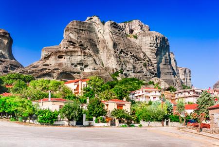 Kalabaka, Greece. City Kastraki (Kalambaka) with rocky mountains of Meteora, the landmark of six monasteries in Thessaly. Stock Photo